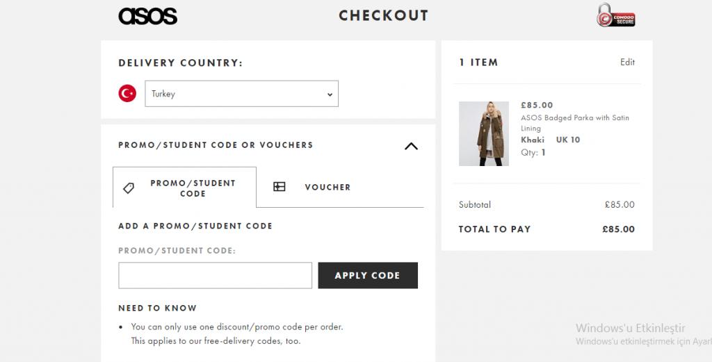 asosdan alışveriş yapmak